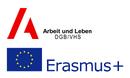 Logo Arbeit und Leben DGB/VHS und EU-Flagge ERASMUS+