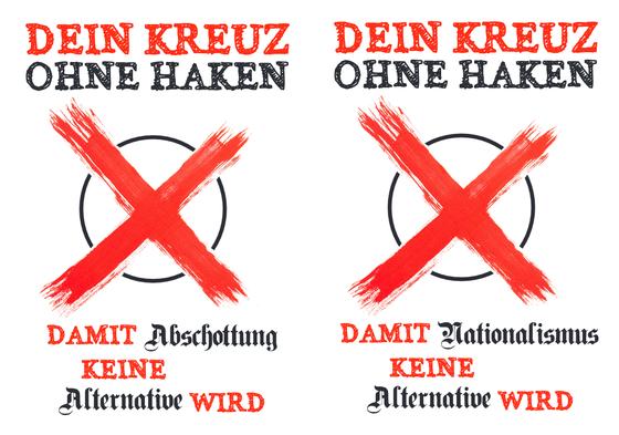 """Zwei Postkartenmotive der Kampagne """"Dein Kreuz ohne Haken"""". """"Damit (1) Abschottung / (2) Nationalismus keine Alternative wird"""""""