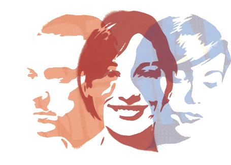 Profile von drei Menschen