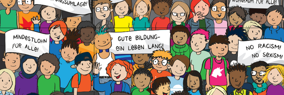Wimmelbild mit vielen verschiedenen Personen, Bannern mit politischen Positionen und Berliner Skyline im Hintergrund