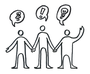 Bild vom Cover des Berliner SV-Handbuchs 2014. Abgebildet sind drei Personen, die sich an den Händen fassen. Über jeder Person befindet sich eine Sprechblase: eine mit einem Fragezeichen, eine mit einem Ausrufezeichen und eine mit einer Glühlampe.