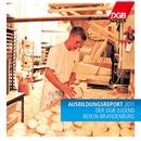 "Bäckerlehrling formt Börtchen in der Bäckerei, Aufschrift ""Ausbildungsreport 2011 der DGB-Jugend Berlin-Brandenburg"" sowie Logo der DGB-Jugend"