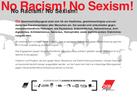 """Rückseite der Postkarte """"No Racism! No Sexism!"""""""